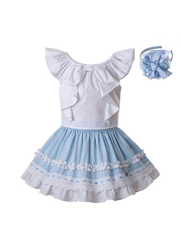 3 Pieces New Summer Girls Clothing Set With Headwear Sleeveless White  Top+Blue Skirt Kids Outfit+ Handmade Headband